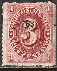MEXICO-Tula 147, 3¢ 783 SMALL NUMERALS single, USED. F-VF (117)