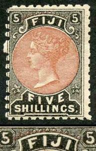 Fiji SG69 5/- Dull Red and Black VARIETY RED ARC above Fiji M/Mint (toned gum)