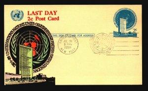 UN 1958 Last Day 2c Postal Card / Hand Colored Cachet - L3769