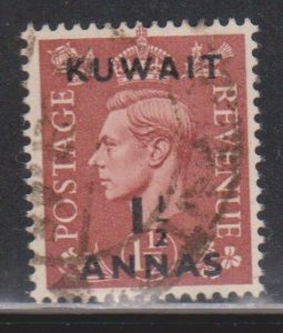 KUWAIT Scott # 74 Used - KGVI Stamp Of Great Britain With Overprint