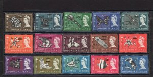 SOLOMON ISLANDS 1966 YEAR SET OF 15 STAMPS SURCHARGED MLH