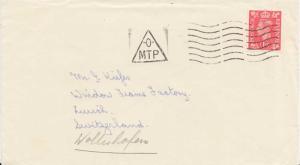 Great Britain 1d KGVI c1950 -0- MTP [Mount Pleasant] Printed matter to Zurich...