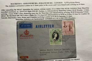 1953 Mauritius Air Letter Cover FDC To London Queen Elizabeth II Coronation B