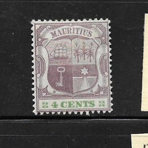 MAURITIUS, 97, MINT HINGE HINGED REMNANT, COAT OF ARMS