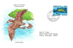 Faroe Islands, Worldwide First Day Cover, Birds