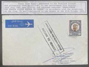 1982 Kuwait Airmail Returned To Sender Cover To Pto Argentino Falkland Islands