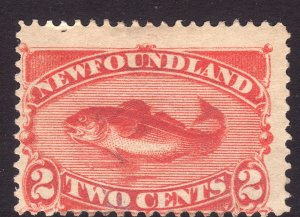 1887 Newfoundland Canada 2¢ Cod Fish red orange MMH Sc# 48 CV $37.50