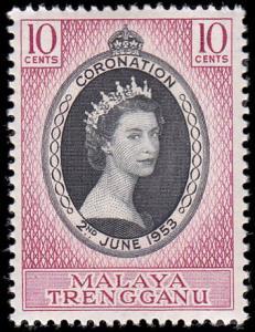 Malaya Trengganu Scott 74 Queen Elizabeth II Coronation MNH
