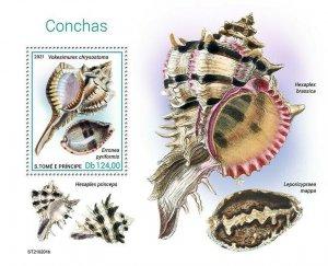 Sao Tome & Principe 2021 MNH Seashells Stamps Shells Marine Animals 1v S/S