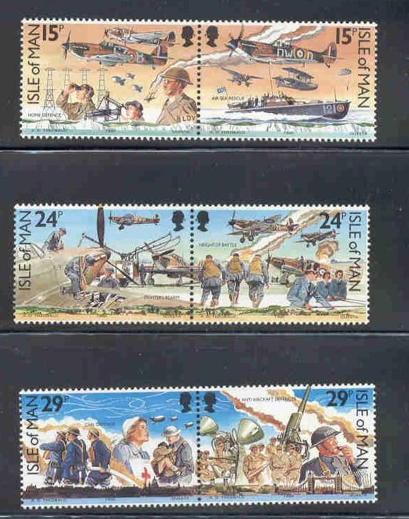 Isle of Man Sc 426-31 1990 Battle of Britain stamp set mint NH