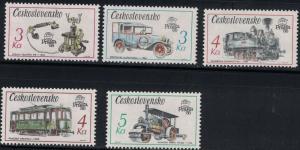 Czechoslovakia SC2656-2660 Prag'89Commun.Transp.Telphone-Tram-Locomotive MNH1987