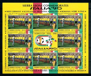 [101718] Sierra Leone 1990 World cup football Italy team Romania Sheet MNH