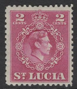 ST.LUCIA SG147 1949 2c MAGENTA p12½ MNH