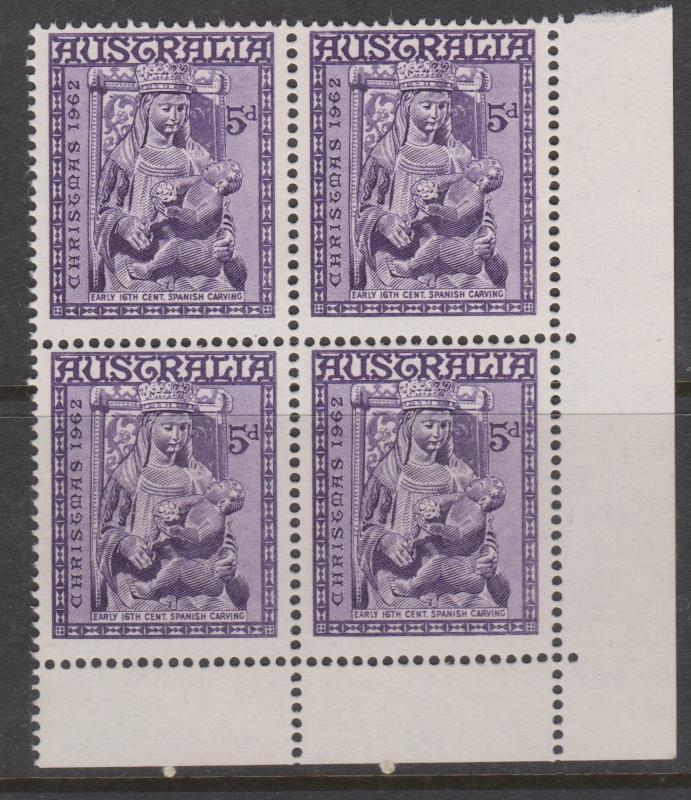 Australia 1962 Christmas Sc#348 Corner Block of 4 Mint Hinged on 2 stamps