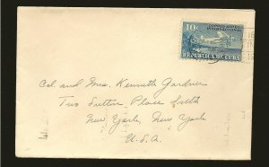 Cuba C5 on Postmarked 1941 Habana Airmail Cover to USA Used