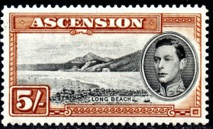 1938 Ascension Sg 46 5s black and yellow-brown (perf 13½) Mounted Mint