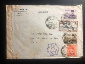 1943 Cairo Egypt Gresham Censored Airmail Cover to Randolph Wi USA