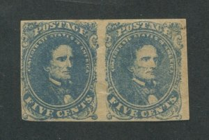 1862 Confederated States of American Postage Stamp #4 Mint Hinged F/VF Pair