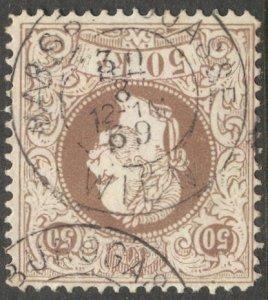 AUSTRIA 1867  50kr brown, Sc 33. Used VF, Habsburgasse Wien 1869 cancel