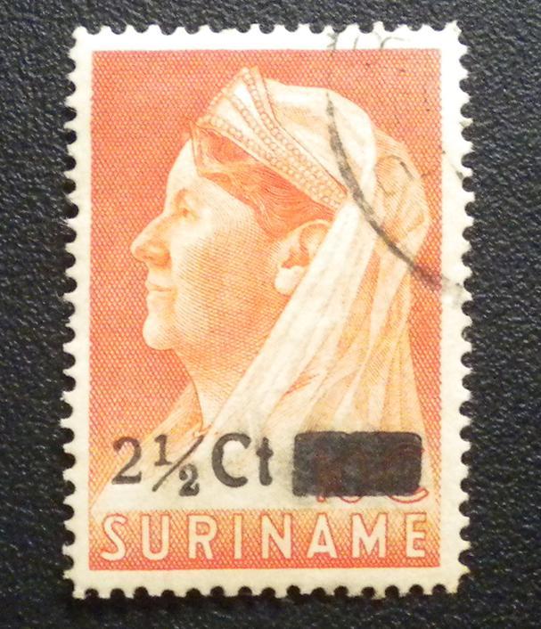 SURINAME DUTCH GUIANA 1947 STAMP. SCOTT # 210. USED. OVERPRINTED.  ITEM 1