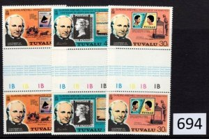 $1 World MNH Stamps (694), Tuvalu, #122-24 Gutter Pair, Rowland Hill, set of 3