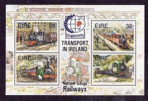 Ireland-Sc#959a-unused NH sheet-Trains-Locomotives-Railway-Singapore overprint-