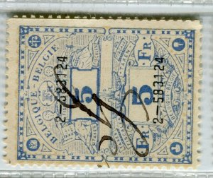 BELGIUM; Early 1900s fine used TAXES FISCALES Revenue issue used value, 5f