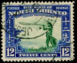 NORTH BORNEO SG310, 12c green & royal blue, FINE USED.
