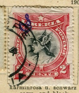 LIBERIA; 1906 early Pictorial Official issue fine used 2c. value
