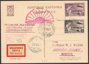 Russia Zeppelin 1931 Polarflight Postcard