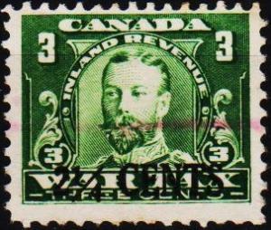 Canada.Date? 2 1/4c on 3c(Inland Revenue). Fine Used