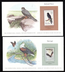 Birds-2 cards [#6a] with a mnh Bird of the World stamp-coloured cachet-Red-foo