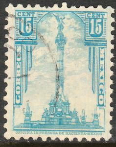 MEXICO 713, 15c INDEPENDENCE MONUMENT 1934 DEFINITIVE USED  F-VF. (534)