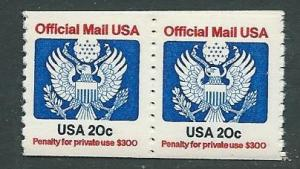 US #O135 20c Offical Mail USA  Pair (MNH) CV $3.50