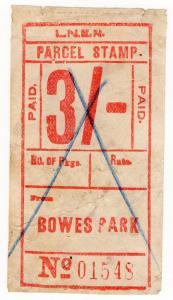 (I.B) London & North Eastern Railway : Parcel Stamp 3/- (Bowes Park)