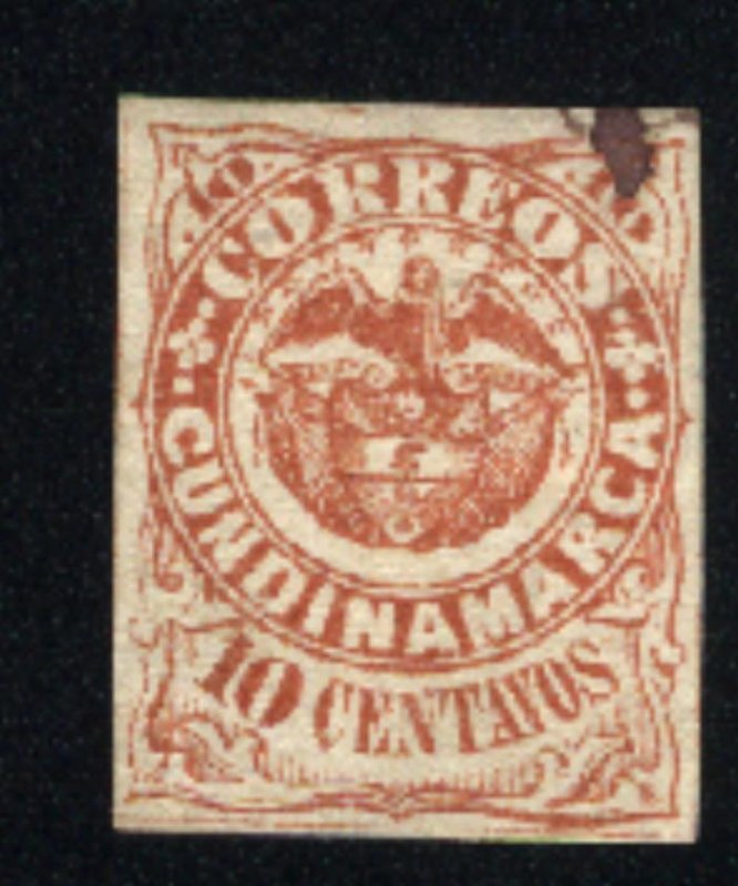 Colombia-Cundinamarca #2   Used 1870 PD