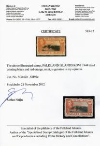 FALKLAND ISLAND George VI 10/- SG162b  1944 blk/red-orange W/Certificate  MINT
