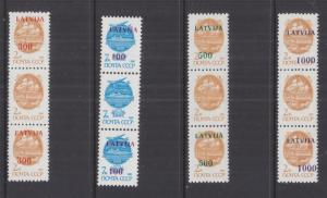 LATVIA, 1991 on Russia set of 4, missing overprint in center of strips of 3, mnh