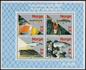 HERRICKSTAMP NORWAY Sc.# B70 Fish Industry Stamp Souvenir Sheet