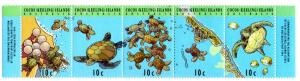 COCOS ISLAND 290 MNH STRIP/5 SCV $1.60 BIN $0.80 MARINE LIFE