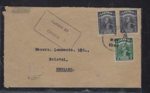 SARAWAK POSTAL HISTORY (P1509B) COVER  1940 3CX2+2C CENSOR SERALANG TO ENGLAND