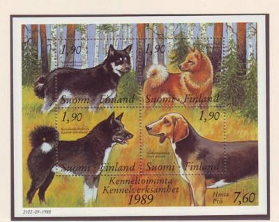 Finland Sc 794 1989 Dogs Kennel Club stamp sheet mint NH