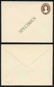 MALAYA - PAHANG 1935 5c brown postal stationery envelope opt SPECIMEN