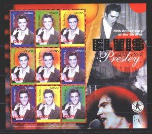 Ghana. 2006. Small sheet 3779-81. Elvis Presley singer, musician. MNH.
