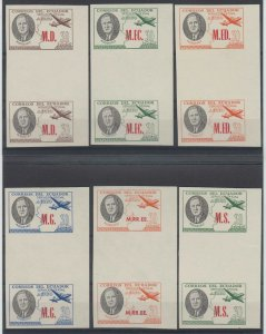 ECUADOR 1949 ROOSEVELT OFFICIAL Bts O231 to O238 SIX MGNL IMPERF GUTTER PAIRS NH