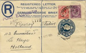 1924 South Africa 4d Registered Postal Stationery Envelope PORT ELIZABETH Hague