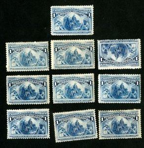 US Stamps # 230 F-VF Lot of 10 Fresh OG NH Scott Value $325.00