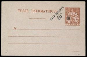 fr027 France Tubes Pneumatiques envelope 75c red, 60c black overprint, unused