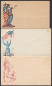 MT45a, ML60, FF168 (3) DIFF UNION CIVIL WAR COVERS UNUSED BR8802