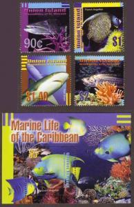Union Island #272-76 lovely fish MNH + SS